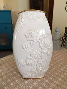 "Classic Lenox Rose Motif Vase With Gold Trim. 8"" Tall by 4.5"" Wide by 3"" depth #Lenox"
