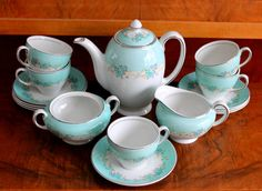 Vintage aqua tea cup set for 8 people, aqua creamer, aqua tea plate, Jonhson Brothers Snowhite made in England, tea Cup and Plate set