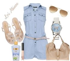 """Denim Romper"" by lori-atkinson ❤ liked on Polyvore"