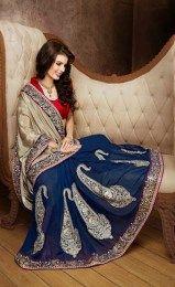 Zari Embroidery & Border Work Rajasthani Style Saree