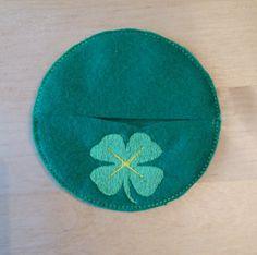 St Patrick's Day Four Leaf Clover Motif - Wine glass decoration, accessory, drink coaster, wine glass charm - glass slipper company by GlassSlipperCompany on Etsy