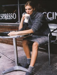 """""""Grey Matters"""": Esther Cañadas photographed by Pamela Hanson for Marie Claire, September 1998"""