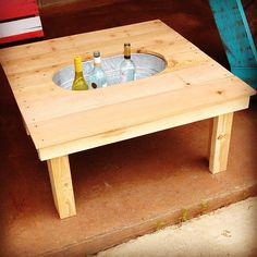 Build yourself a cooler right into your patio table.
