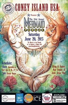 Susana Alonso's Artwork: POSTER FOR THE 2015 CONEY ISLAND MERMAID PARADE US...