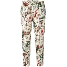 Valentino wild life print cropped trousers ($1,055) ❤ liked on Polyvore featuring pants, capris, trousers, bottoms, pantalones, white, silk print pants, elastic waist pants, cropped trousers and silk pants
