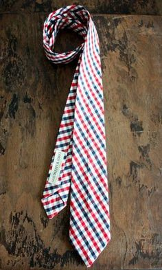 Red White and Blue Checkered Necktie Handmade by by LordWallington, $55.00