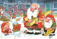 ˇˇ Christmas Books, Vintage Christmas Cards, Christmas Images, Long Winter, Gnomes, My Images, Finland, Pixie, Pure Products