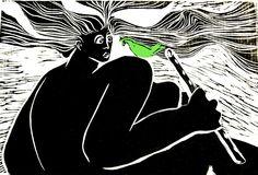 Flautista, linocut, 30x20cm, ano 2005, artista Maria Lucia Pacheco. http://www.marialuciapacheco.com.br/