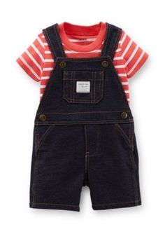Carters  2-Piece Stripe Shirt and Shortall Set
