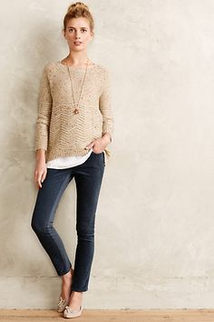 I love this whole look. Love the sweater with the subtle patterned bottom, great colors, love the soft blue cords.