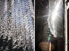 Street Light Disco. Luces de discoteca en las calles de Sidney. Este mosaico de delgados espejos de plástico sobre una base de tela capta las luces de la ciudad creando reflejos y efectos ópticos increíbles. #MWMaterialsWorld #disco #WeLoveMaterials
