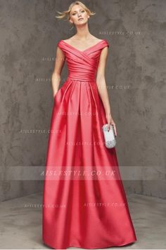 A-line Off The Shoulder Cap Sleeves Pleated Floor-length Long Satin Wedding Guest Dresses with Two Pockets