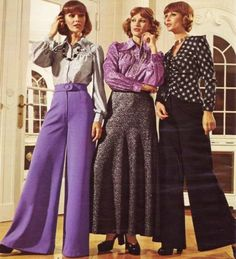 Snug around the hips and thighs, pants flared out into enormous widths (bell bottoms) http://thesharebears.com/Vintage-Clothing/Popular-1970s-Vintage-Clothing/