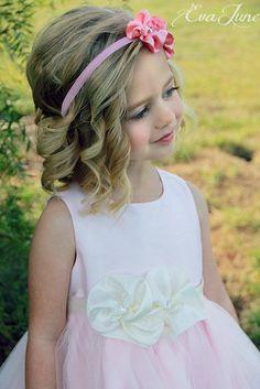 Cute flower girl hair and headband!  (Flower Girl Headband Flower Girl Sash Ivory White Sash by EvaJune, $36.00)
