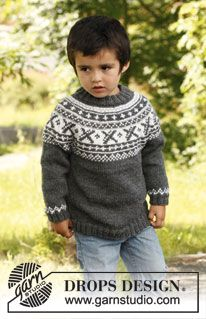 """Knitted DROPS jumper worked top down in """"Karisma"""" or """"Merino Extra Fine"""" with round yoke and Norwegian pattern. Baby Knitting Patterns, Baby Cardigan Knitting Pattern, Christmas Knitting Patterns, Knit Baby Sweaters, Knitted Baby Clothes, Crochet For Boys, Knitting For Kids, Free Knitting, Drops Design"""
