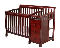 Wow - this is a beautiful piece of furniture. The cherry ought to go well with any decor. Oh, did we mention that it is a combination crib and changing table? When baby outgrows crib, the changing table can be removed and the crib converted to a twin bed.