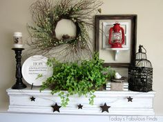 Today's Fabulous Finds: Thrifty Spring Mantel lots of crafty tutorials Fake Fireplace Mantel, Fireplace Modern, Mantle Shelf, Ledge Shelf, Rustic Mantel, Country Decor, Farmhouse Decor, Home Living Room, Ladder Decor