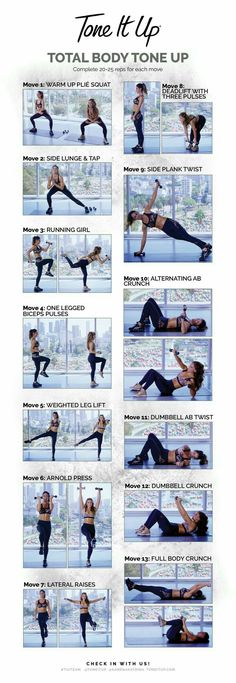 Full body workout: Tone It Up Total Body Tone Up Cheat Sheet! Fitness Workouts, Fitness Motivation, Toning Workouts, At Home Workouts, Tone Up Workouts, Fat Workout, Workout Routines, Workout Challenge, Tone It Up