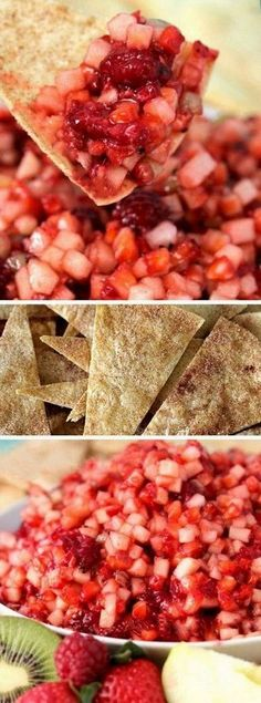 Fruit Salsa with Cinnamon Crisps...One of my favorite recipes! Easy and amazing, fresh fruit salsa with cinnamon crisps recipe. This homemade fruit salsa is so easy and very delicious!