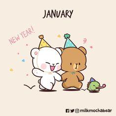 Cute Panda Cartoon, Cute Cartoon Pictures, Cute Love Pictures, Cute Love Cartoons, Cute Couple Comics, Cute Comics, Kawaii Doodles, Cute Doodles, Bear Sketch