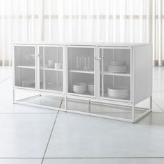 Shop Casement White Large Metal Sideboard. Inspired by the clean lines of vintage French casement windows, our white metal sideboard stores and displays behind clear glass doors that latch with simple industrial hardware. Metal Sideboard, Small Sideboard, White Sideboard, White Furniture, Unique Furniture, Custom Furniture, Industrial Furniture, French Casement Windows, Large Windows