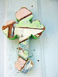 Mosaic Serbian Cross Made from Recycled Wood by woodenaht on Etsy, $15.00