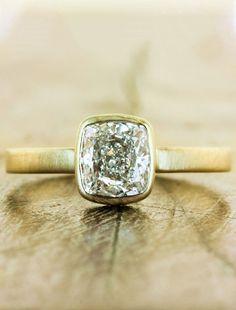 Indira: Simple & Rustic Cushion Cut Diamond, Brushed Gold   Ken & Dana