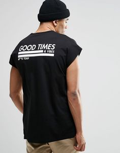 Image 1 of ASOS Oversized Sleeveless T-Shirt With Good Times Print And Burnout Wash