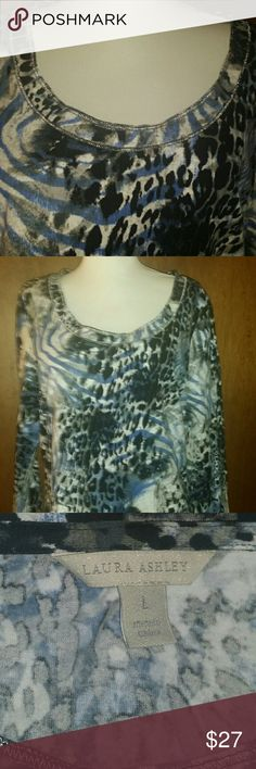 """Laura Ashley animal print top, blue/black, new Soft shirt, 3/4 sleeve, round neckline  with silver metallic  thread trim.  Pullover  Style Cote Dazur. .color blue multi 95% cotton, 5% spandex 42"""" bust, 25"""" long Laura Ashley Tops Tees - Long Sleeve"""