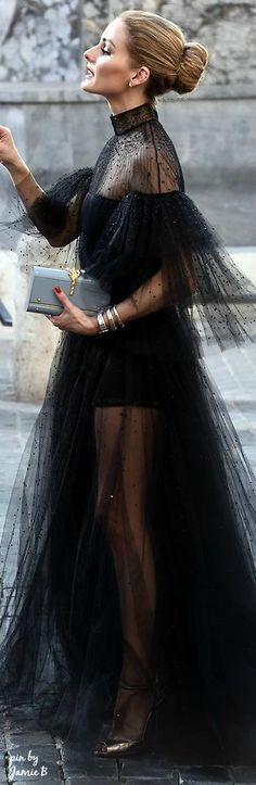 Olivia Palermo is the ultimate in glam. This embellished black tulle couture gown is so elegant.