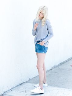 The Fifth Label Grey Loose Knit Tee, The Fifth Label Denim Shorts