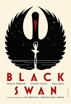 Black Swan by La Boca Studio- This design uses a lot of geometric shapes and contrast to create a bold and clean look. The images portray the content of the movie while remaining mysterious and dramatic. The bold sans serif uses color and size hierarchy, further emphasized by the actor's names almost underlining the title.