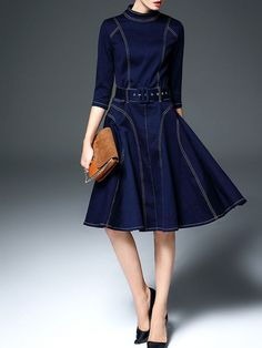 Denim Swing Midi Dress on stylewe.com