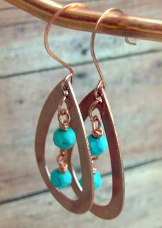 Copper Turquoise Faceted Wire Wrapped Dangle by Cheshujewelry, $18.00