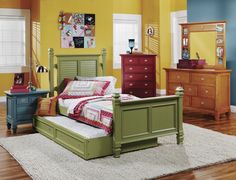 Reg Price: $ 2,618.00,  Guaranteed Low Price: $1,570.80 , Code: YH4819-Group E, Weight: 485.00 ,Includes: Green Twin Poster Bed, Storage Trundle Unit, Dresser and Mirror