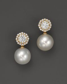 White South Sea Cultured Pearl Drop Earrings with Diamonds in 18K Yellow Gold, 11mm