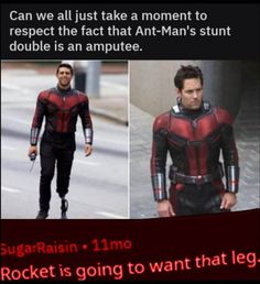 Ant-Man And The Wasp stunt double Scott Lang Rocket GOTG Guardians of The galaxy Avengers superheroes Marvel MCU movies Avengers Humor, Funny Marvel Memes, Dc Memes, Marvel Jokes, Marvel Dc Comics, Marvel Heroes, Marvel Avengers, Funny Memes, Hilarious
