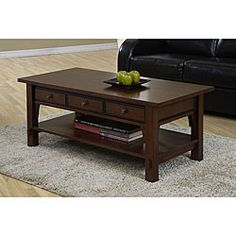 @Overstock.com - Talisman 3-drawer Coffee Table - Style meets functionality with this sophisticated coffee table with drawers. Ideal for displaying treasured keepsakes, the tables three drawers offer discreet storage of your items. The beautiful walnut cherry finish will complement any decor.   http://www.overstock.com/Home-Garden/Talisman-3-drawer-Coffee-Table/3979037/product.html?CID=214117 $239.99