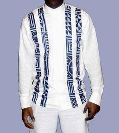chemise homme longue manche en lin blanc et tissu pagne africain couleur,lin lourd et tissu pagne de très bonne qualité,chemise très originale et vraiment classe,idéale pour to - 9810955 #AfricanFashion