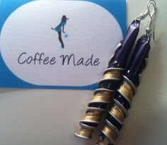 Earrings handmade with Nespresso capsules by CoffeeMade on Etsy