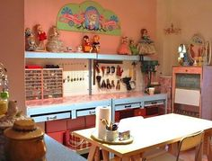 Amy & Keith's Candy-Coated Dollhouse Horse Themed Bedrooms, Bedroom Themes, Workspace Inspiration, Home Decor Inspiration, English Interior, Space Crafts, Craft Space, Beautiful Interior Design, Apartment Therapy