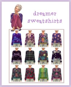 Dreamer Sweatshirts at Maimouth Sims4 via Sims 4 Updates