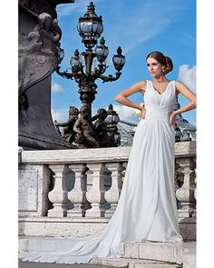 Sheath V-neck Court Train Chiffon Destination Wedding Dress