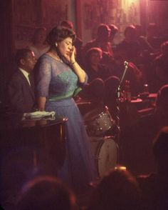 Photo by Yale Joel for Life Magazine, 1958    Ella Fitzgerald performing at Mr. Kelly's nightclub.