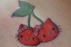 Hello Kitty Tattoo Designs | Crazy Hello Kitty Tattoo In Cherry Design