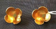 "Modernist blossom earrings with bright gold finish. Delphine Nardin, Paris. 1-1/6"" across. SOLD"