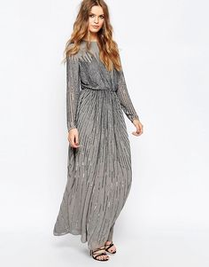 ASOS | ASOS Linear Sequin Long Sleeve Maxi Dress at ASOS