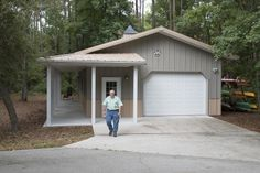 This garage was built for Greg of Jacksonville, FL Special Features: Morton's Hi-Rib Steel Cupola Wrap Around Porch Wainscot Windows w/ Shutte. Metal Building Homes, Metal Homes, Building A House, Garage Apartment Plans, Garage Plans, Garage Ideas, Morton Building, Building Plans, Shop Buildings