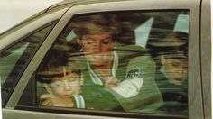 January 10, 1991: Princess Diana with Prince William and a friend after leaving Prince Harry at Wetherby Prepatory on the first day of his new school term after the Christmas and New Year holidays.