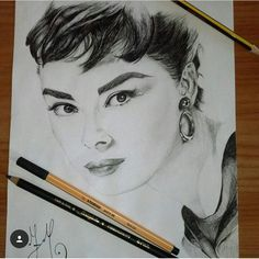 My portrait of Audrey Hepburn created with graphite